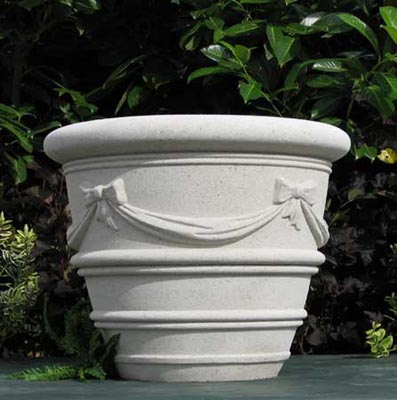 Cardiff Cast Stone Planter With Bows And Swags Garden Artisans Llc
