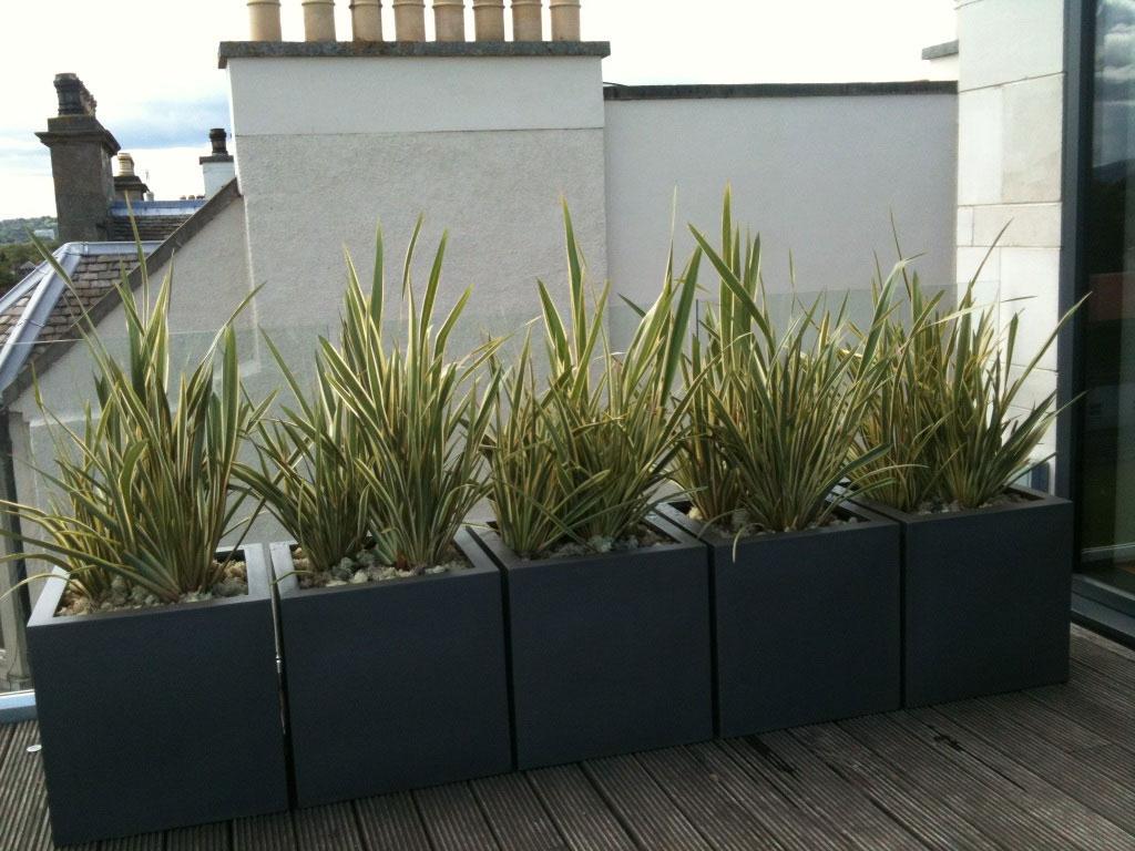 Fiberglass Cube Planter 15 Faux Lead Textured Garden Artisans