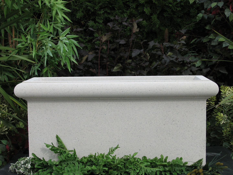 Chelsea Trough Cast Stone Rectangular Planter Limestone