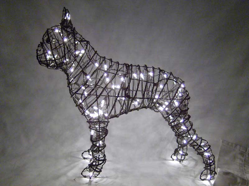 boston terrier topiary with lights - Boston Terrier Outdoor Christmas Decoration