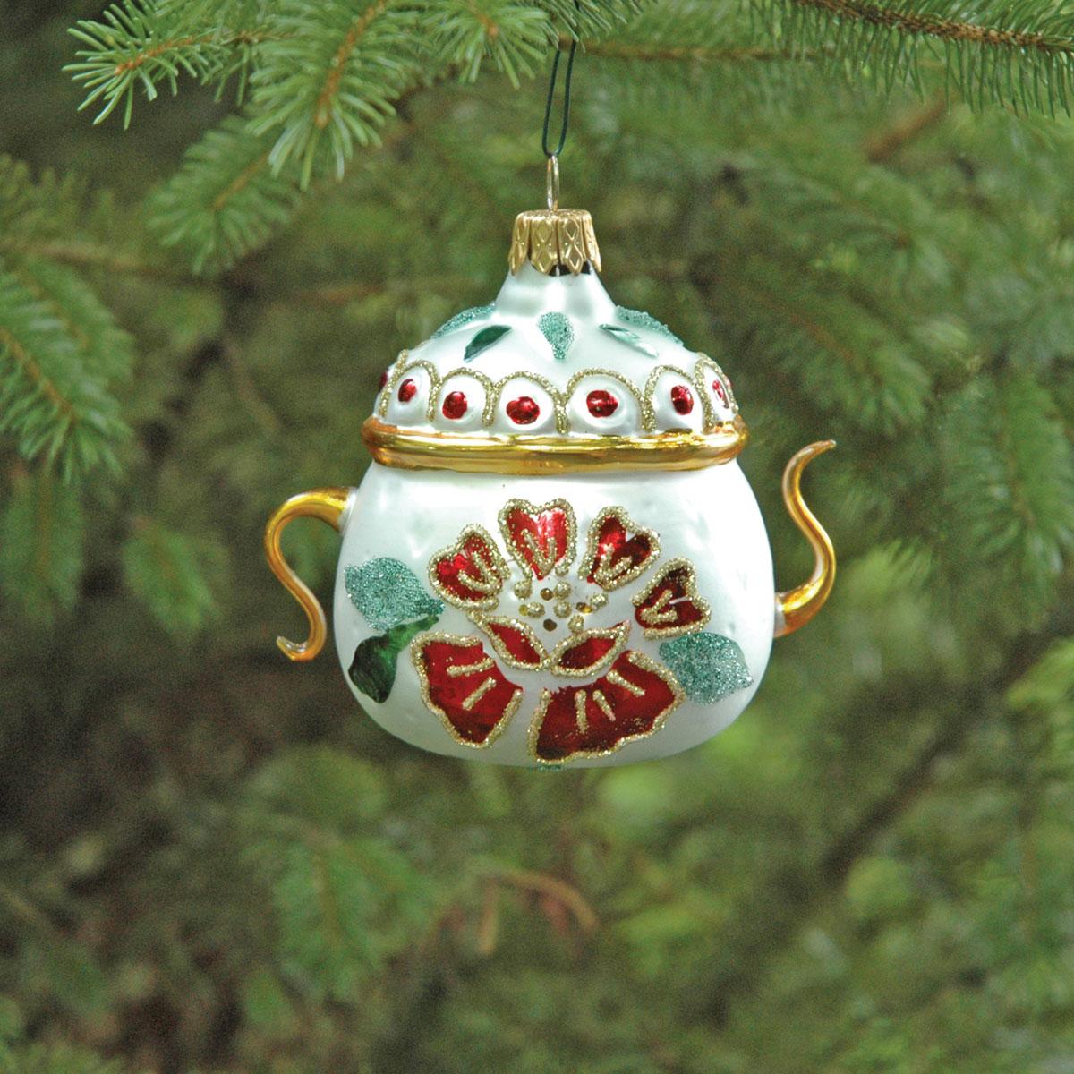 Hospitality Teapot Christmas Blown Glass Ornament | Garden ...