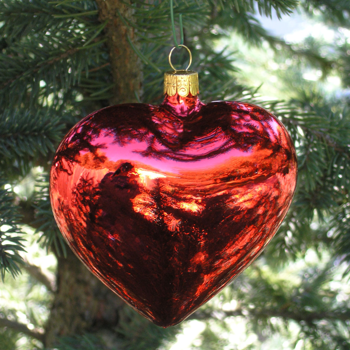 Large Shiny Red Heart Blown Glass Ornament Garden
