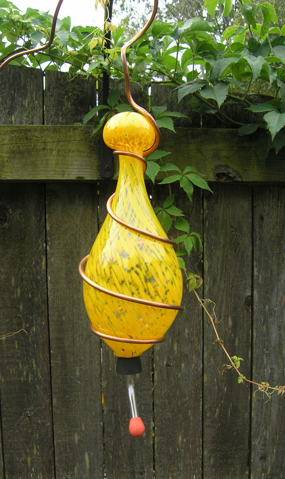 Handblown Glass Hummingbird Feeder 3 Beautiful Color