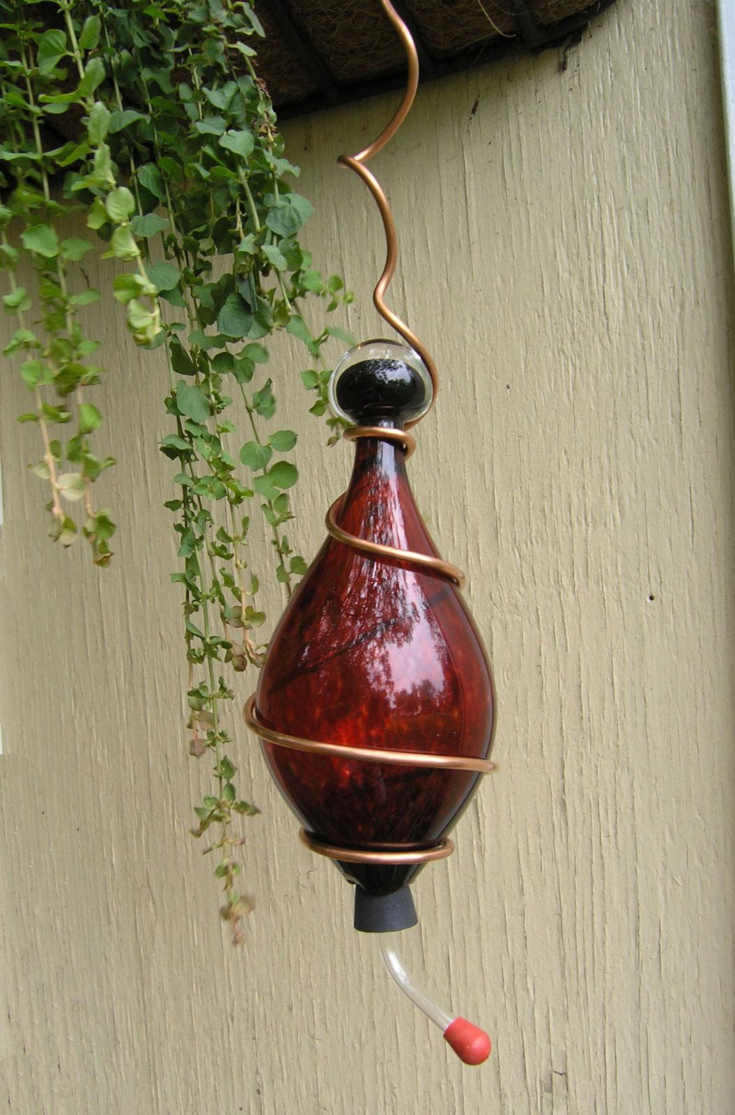 Handblown Glass Hummingbird Feeder Crimson Red Garden