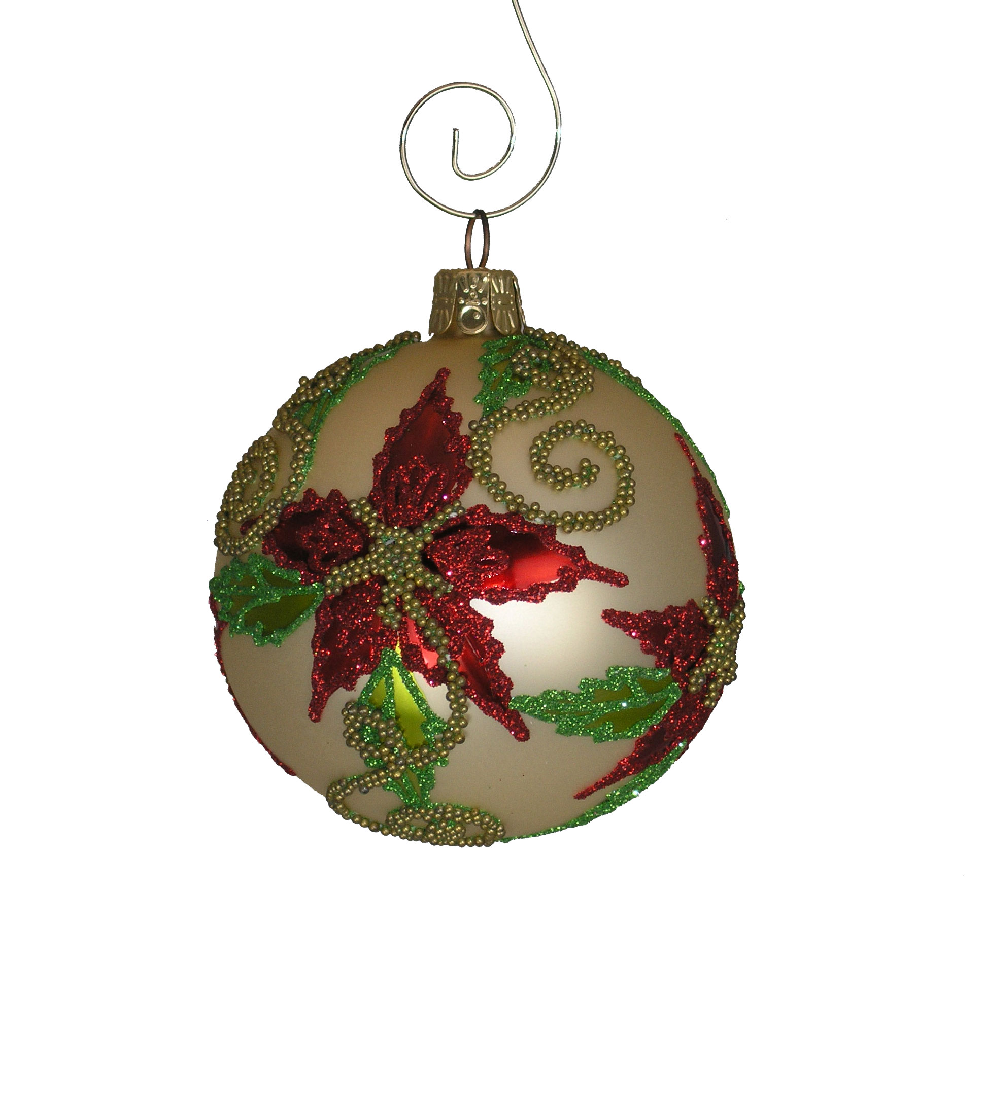 Beaded Poinsettia Blown Glass Ball Ornament