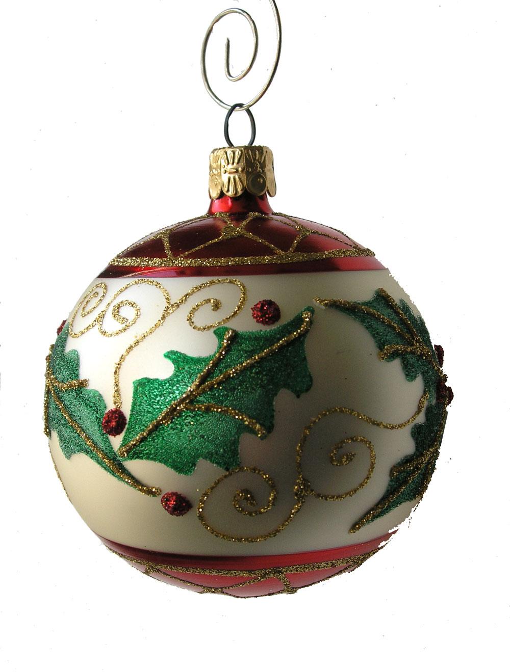 Holly Leaf Ball Hand Blown Glass Christmas Ornament ...
