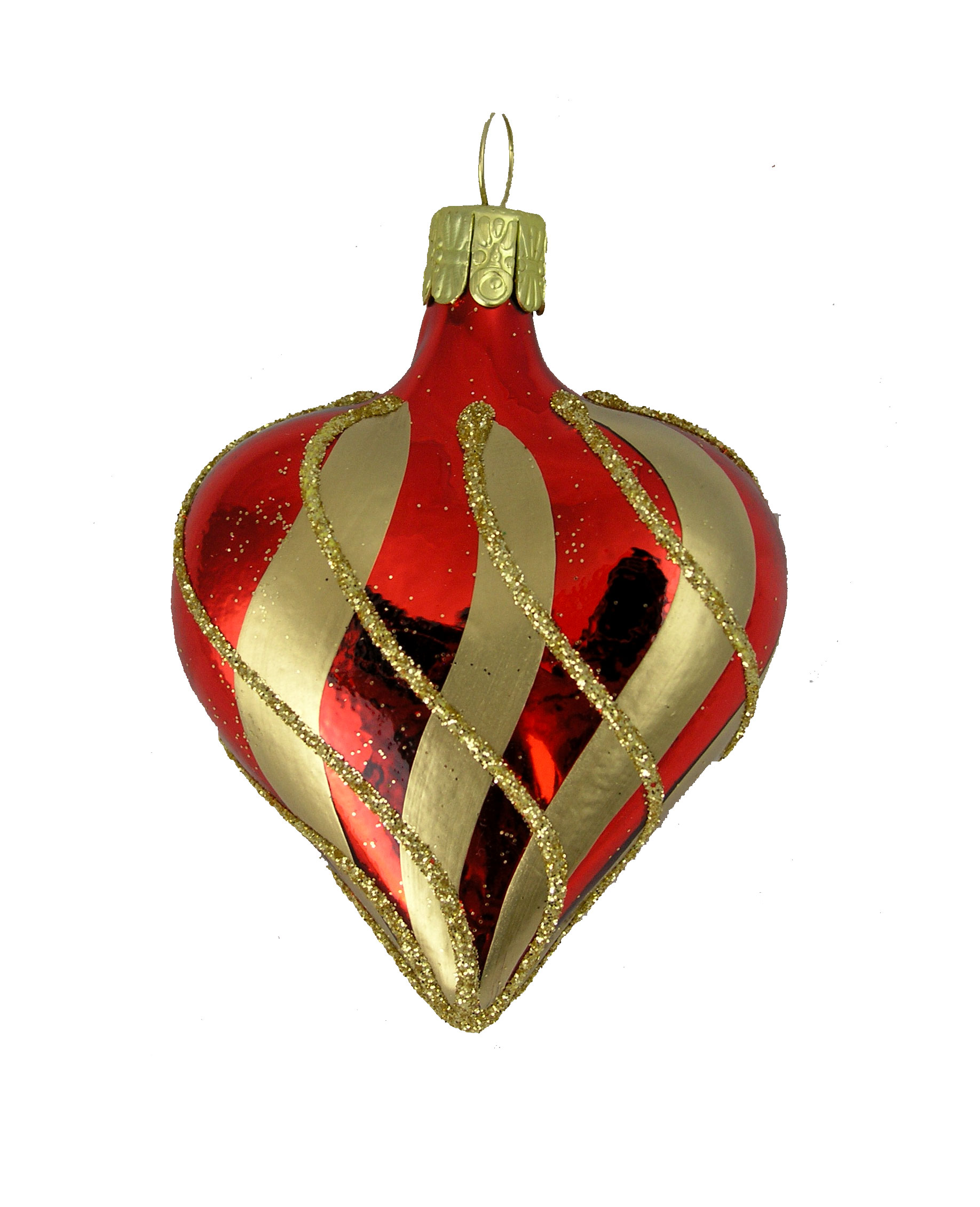 Shiny Red Heart With Gold Stripes And Glitter Blown Glass