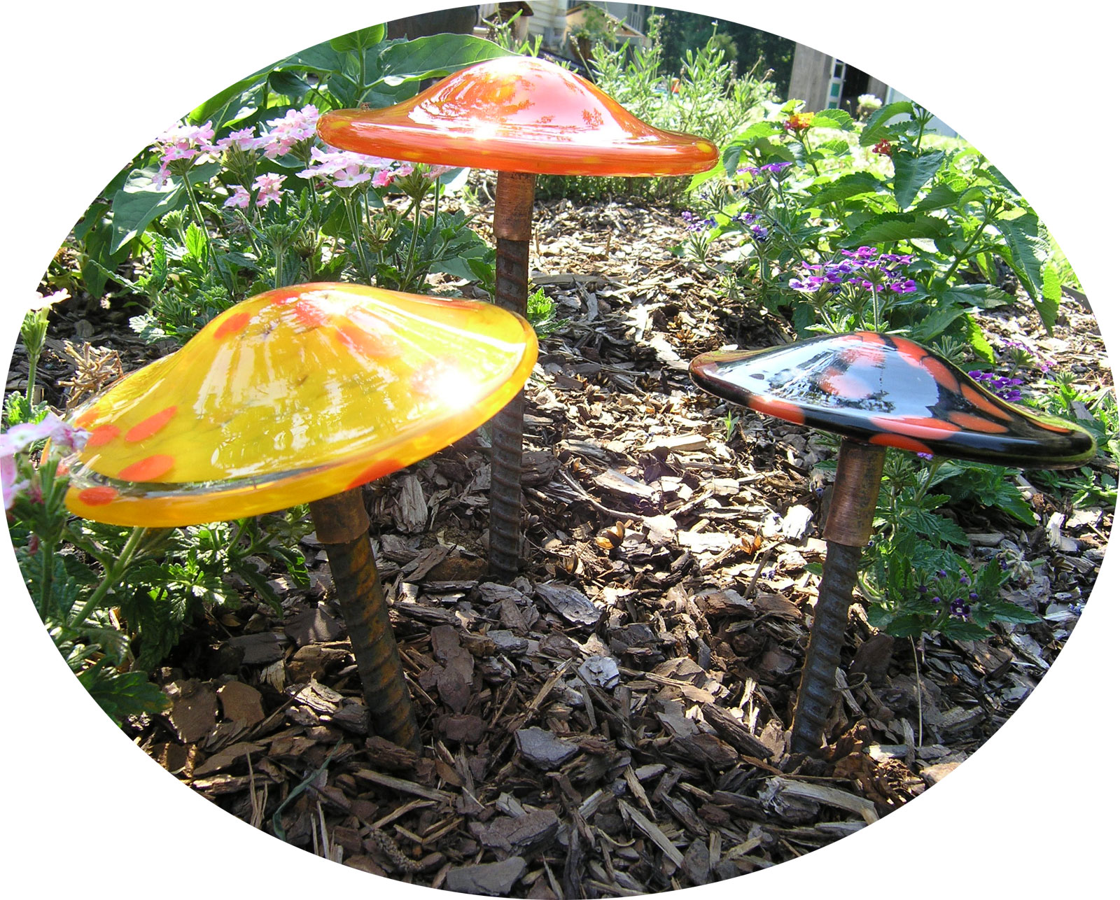 Hand Blown Glass Mushroom Stakes In Several Color