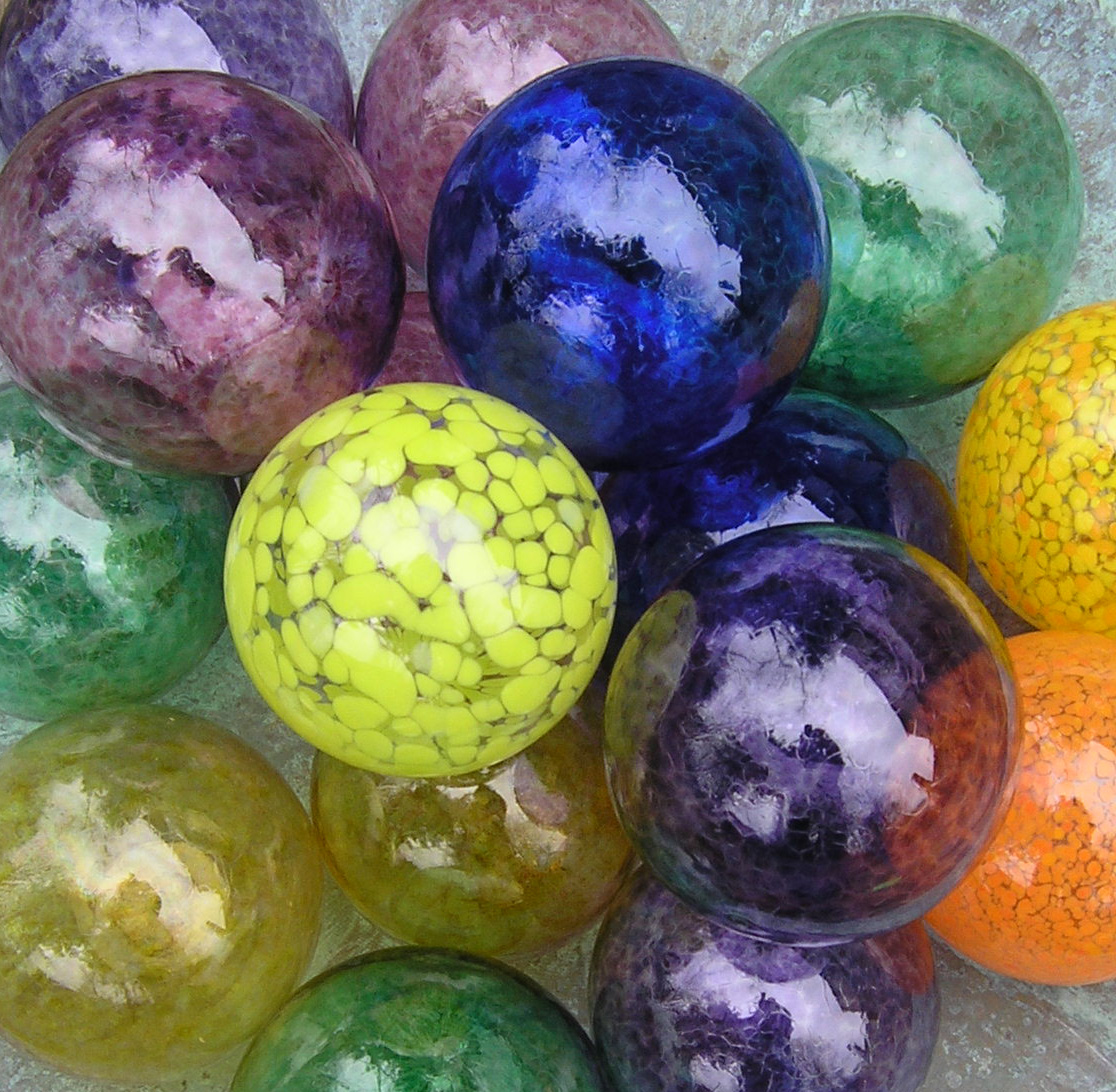 Ornament pond balls hand blown glass floats made in for Ornamental fish pond supplies