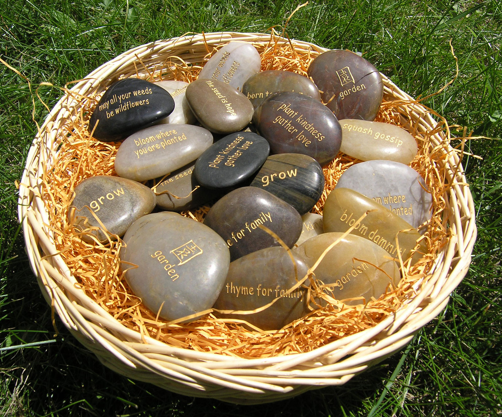 Basket of Garden Thoughts - 120 Word Stones for gardeners | Garden ...