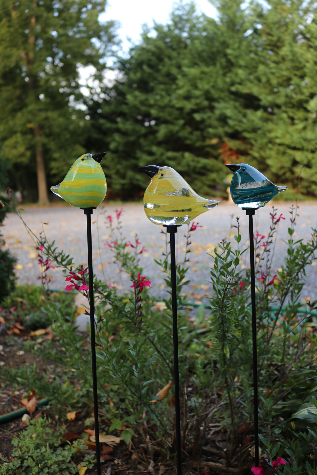 Glass Bird Garden Stakes 3 Color Choices 28 Quot Stake