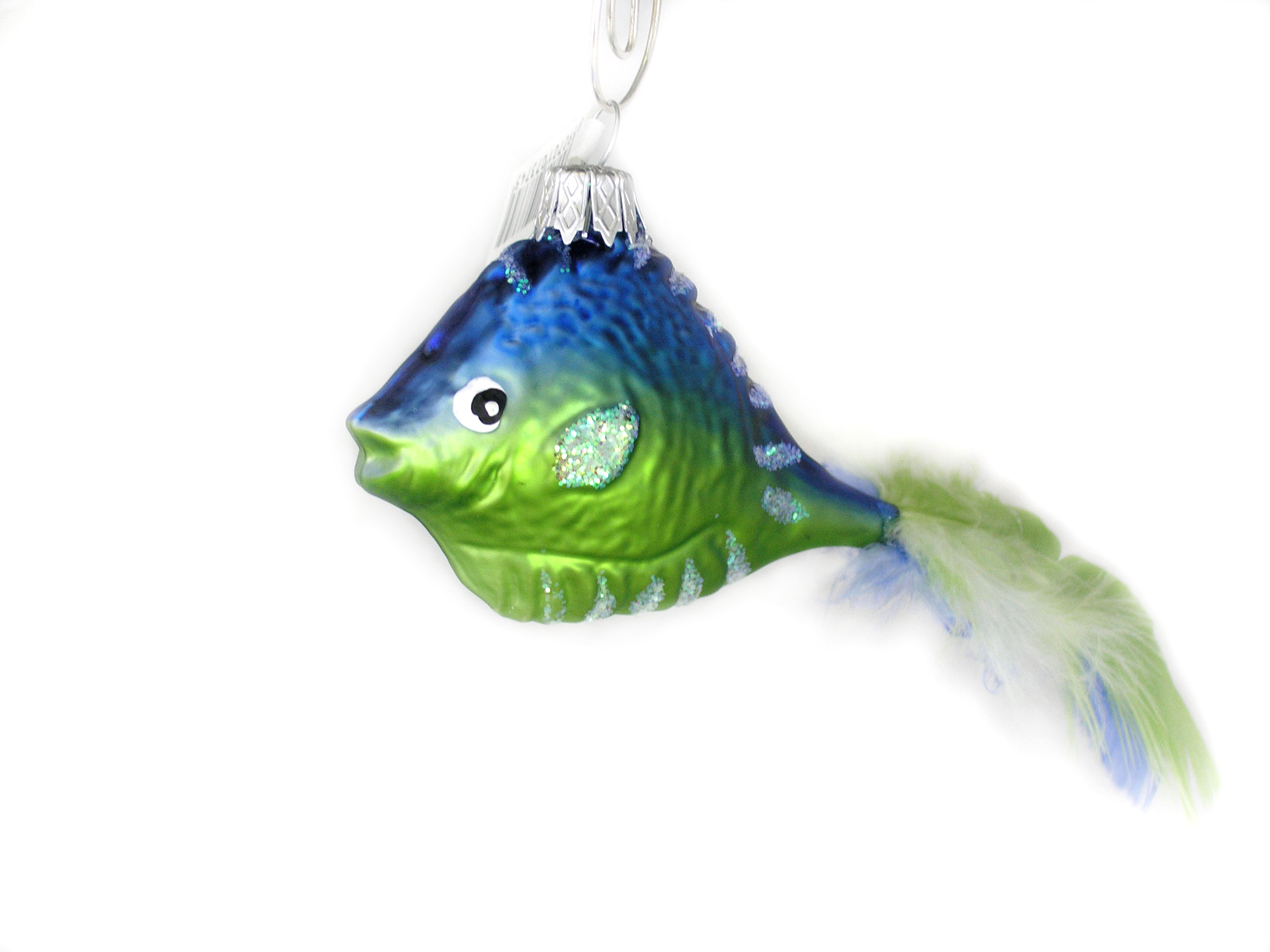 Fish with Feather Blown Glass Christmas Ornament | Garden ...
