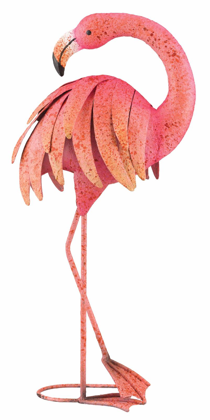 Pink Preening Flamingo Metal Garden Decor Garden