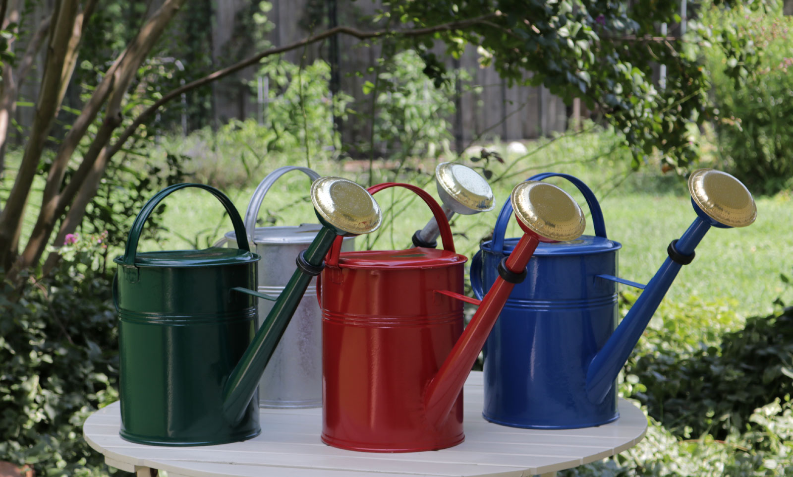 large galvanized watering cans blue green red and plain - Garden Watering Can
