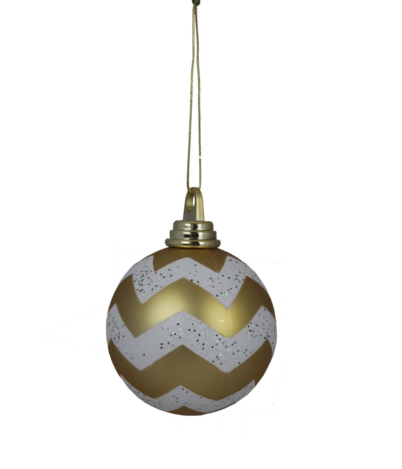 4 Quot Chevron Gold White Ornament Shatterproof Garden