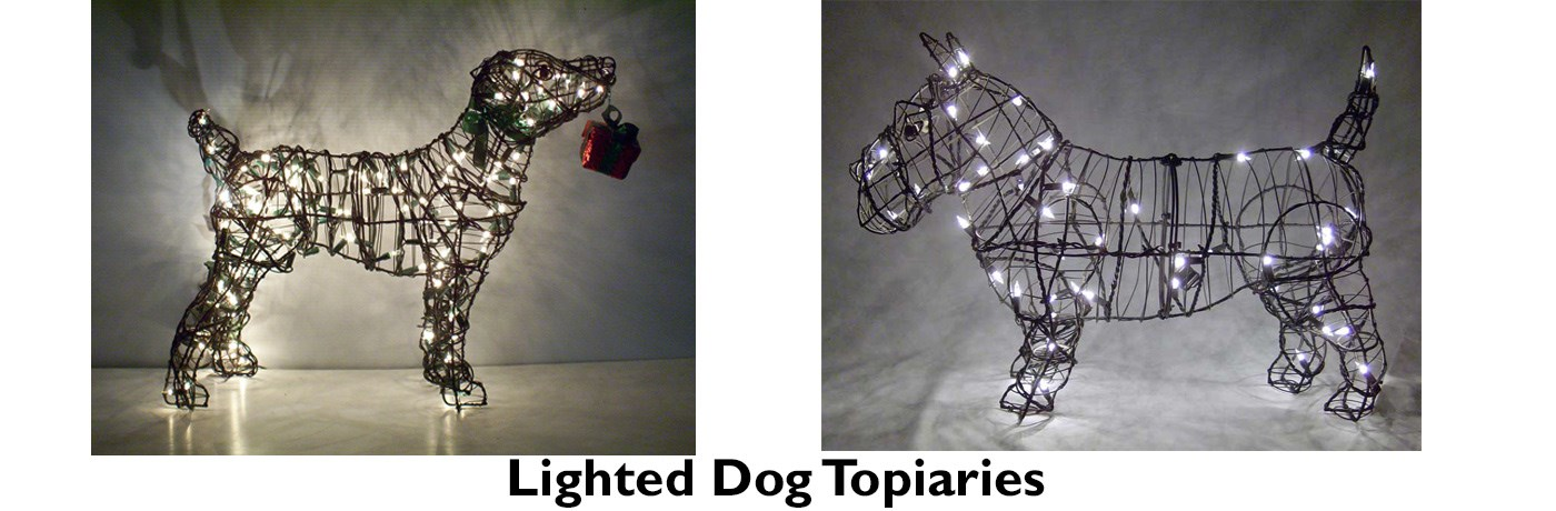 Lighted Dog Topiaries