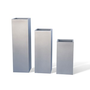 Columns - tall square metal planters