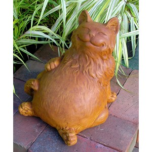 Reclining Happy Fat Cat statue in Terracotta