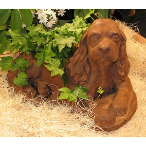 Spaniel Planter in Dark Walnut