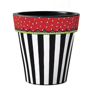 "Black and White Stripe 15"" Art Pot"