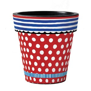 "Red with Dots 12"" Art Pot"