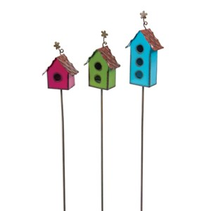 Mini Colorful Bird House Picks - Set of 3