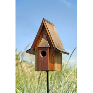 Mahogany Chateau Birdhouse with Copper Roof
