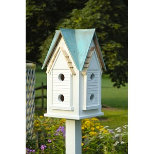 Victorian Mansion Birdhouse White with Verdigris Roof