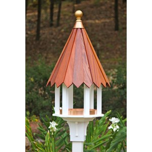 Cabana Cafe Birdfeeder - White PVC with Mahogany Roof