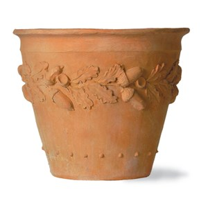Oakleaf Pot - fiberglass planter - Weathered Terracotta