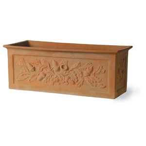 Fiberglass Trough with Oak Leaf Design - Weathered Terracotta
