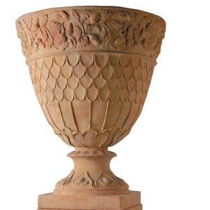 Oakleaf Urn - fiberglass - Weathered Terracotta