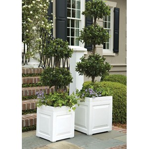 Sloane Square fiberglass planter - Gloss White