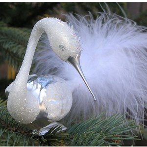 Hand-blown Glass White Swan Clip-on Ornament