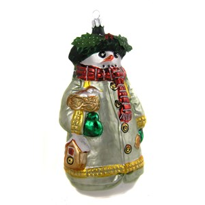Woodland Snowman Ornament - Front View - Handblown Glass