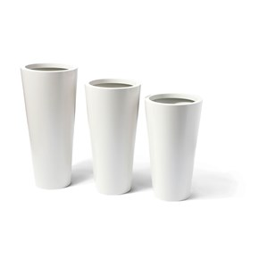 Cone - tapered tall round metal planters - White