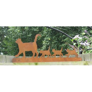 Cat Family on Fence garden decor