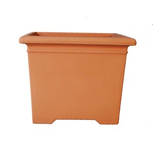 Footed Square Planter - molded plastic planter