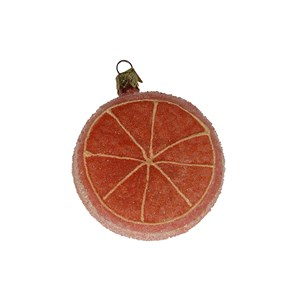 Frosted Grapefruit Ornament - Hand-Blown Glass