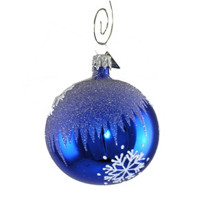 Blue Snowflake Ball Ornament - Hand-blown Glass
