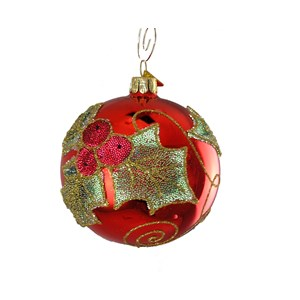 Holly on Red Ball Ornament - Hand-Blown Glass