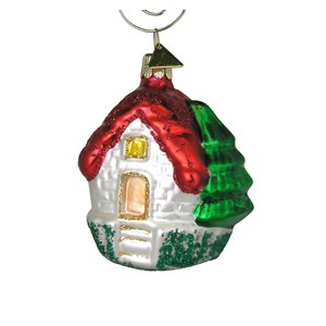 House with Red Roof Ornament - Hand-Blown Glass
