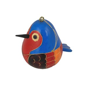 Hanging Hand Carved Bird Gourd Ornament - Blue