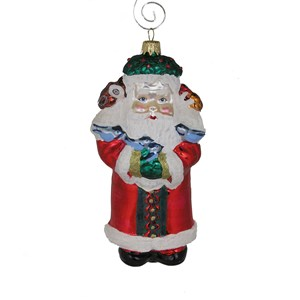 Woodland Santa - Front View - Hand-Blown Glass Ornament