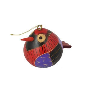 Hanging Hand Carved Bird Gourd Ornament - Red