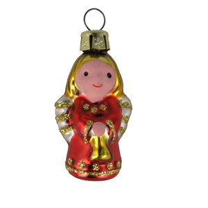 Miniature Red Angel Ornament - Hand-Blown Glass