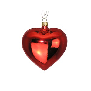 Shiny Red Heart Ornament - Hand-Blown Glass