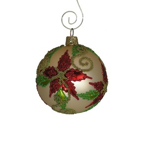 Beaded Poinsettia Ball Ornament - Hand-Blown Glass
