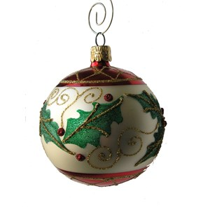 Holly Leaf Ball Ornament - Handblown Glass