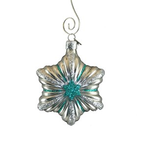 Hand-Blown Glass Silver Star Ornament